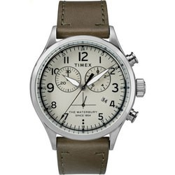 Timex Waterbury Traditional Chronograph 42mm Leather Strap Watch TW2R70800